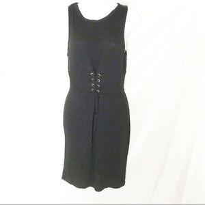Dee Elly Black Lace Up Bodycon Dress Women's Sz S